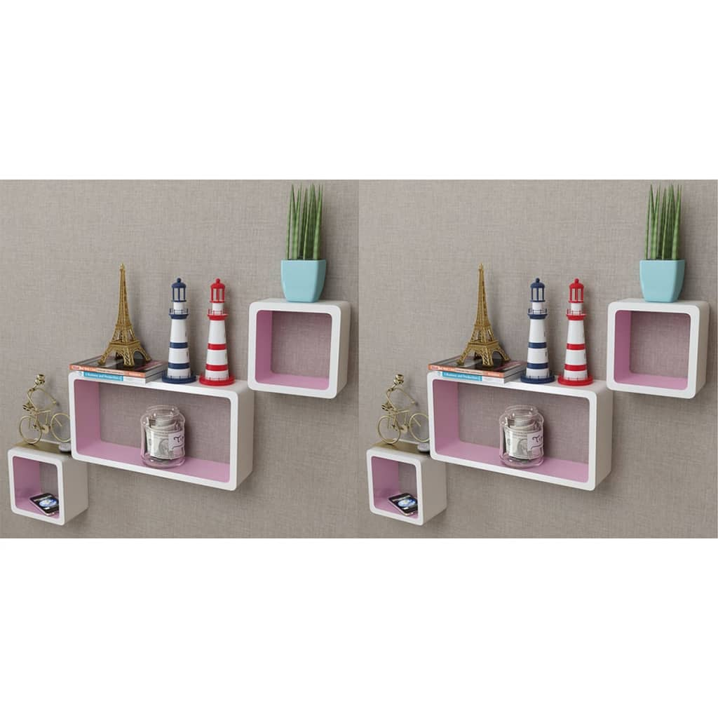 Wall Cube Shelves 6 pcs White and Pink 1