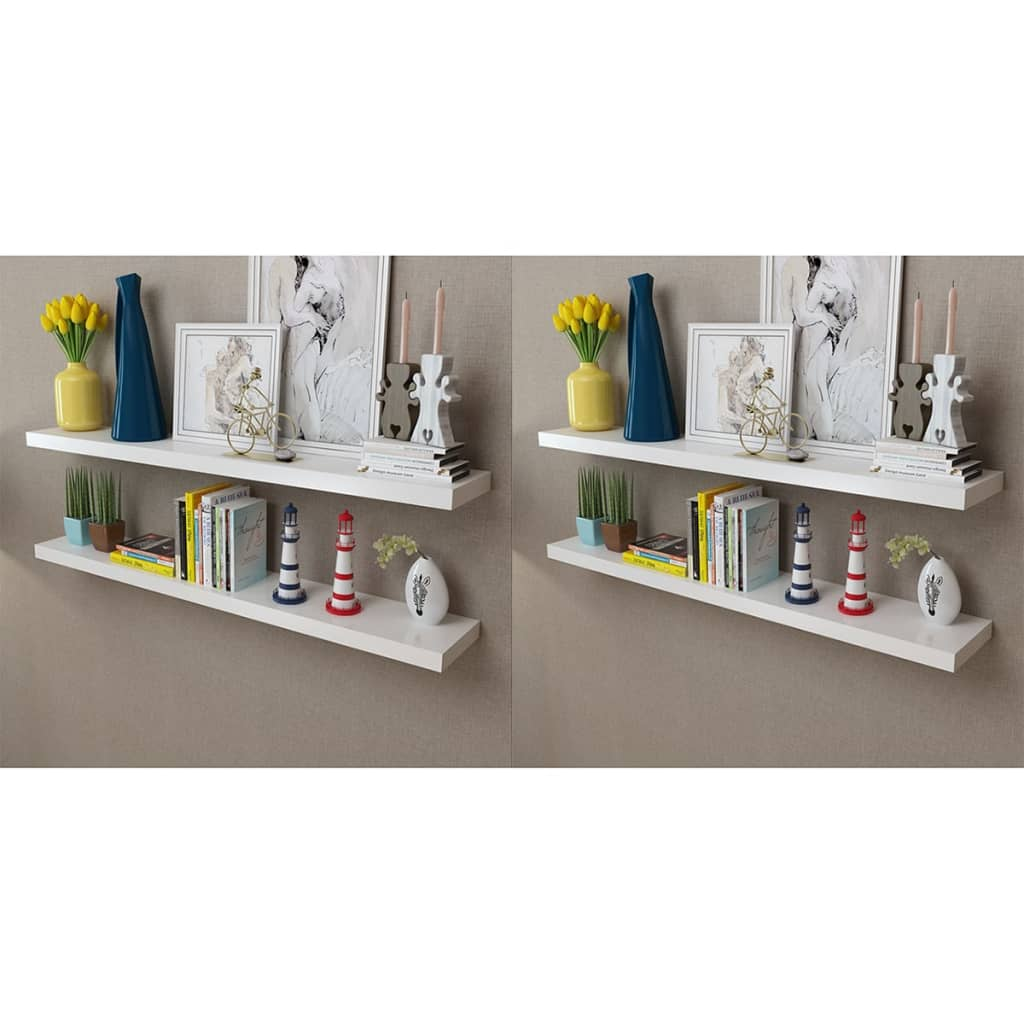 Wall Shelves 4 pcs White 120 cm