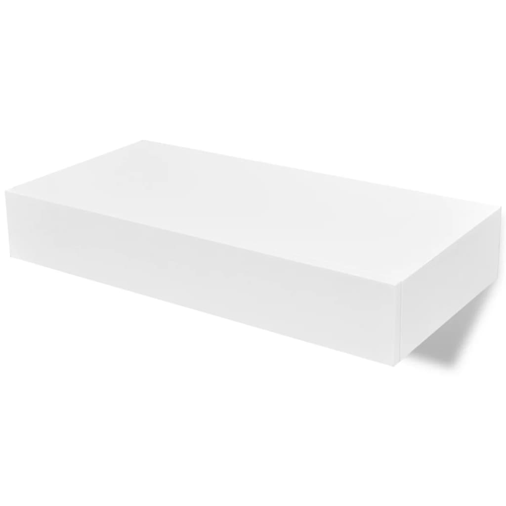 Floating Wall Shelves with Drawers 2 pcs White 48 cm 2