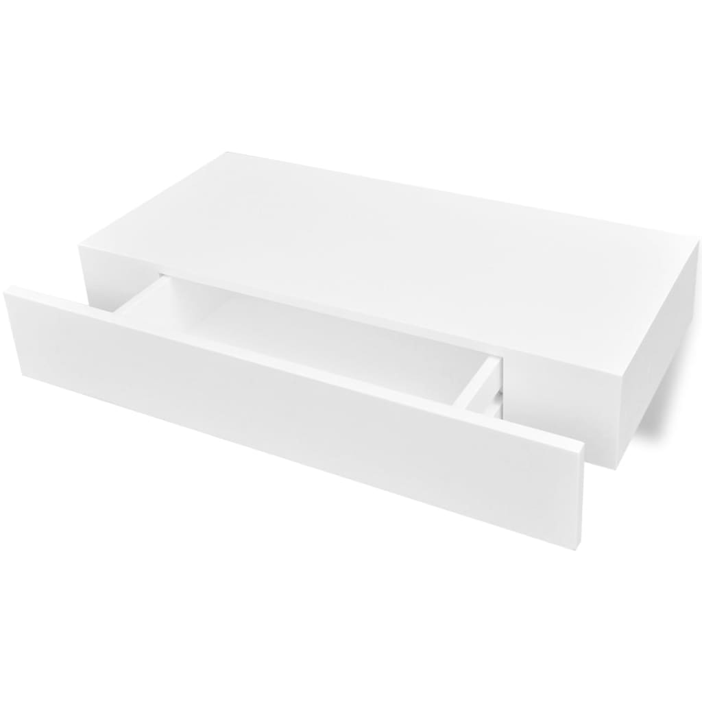 Floating Wall Shelves with Drawers 2 pcs White 48 cm 4