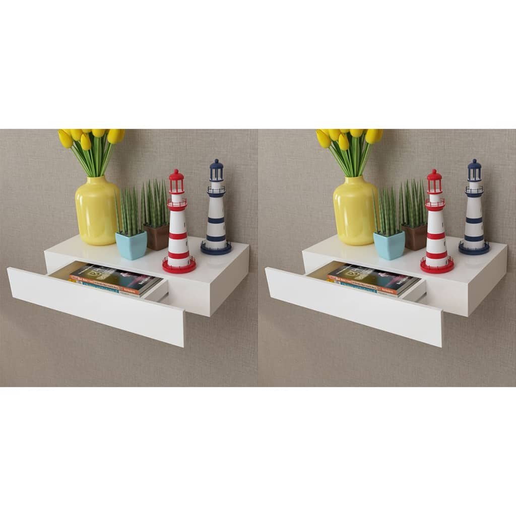 Floating Wall Shelves with Drawers 2 pcs White 48 cm 1