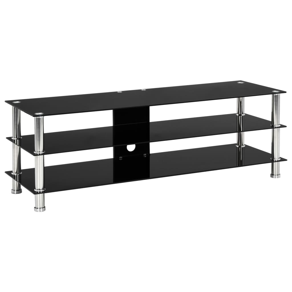 TV Stand Black 120x40x40 cm Tempered Glass