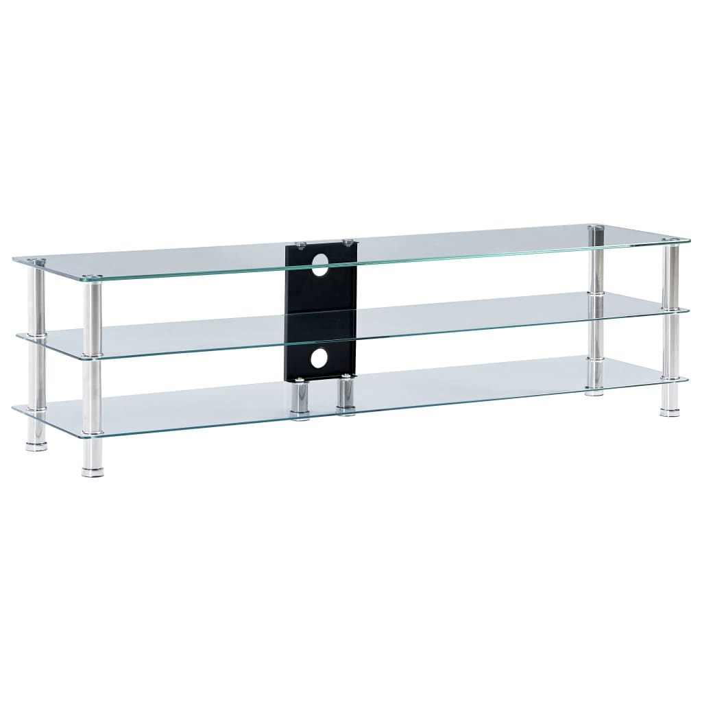 TV Stand Transparent 150x40x40 cm Tempered Glass
