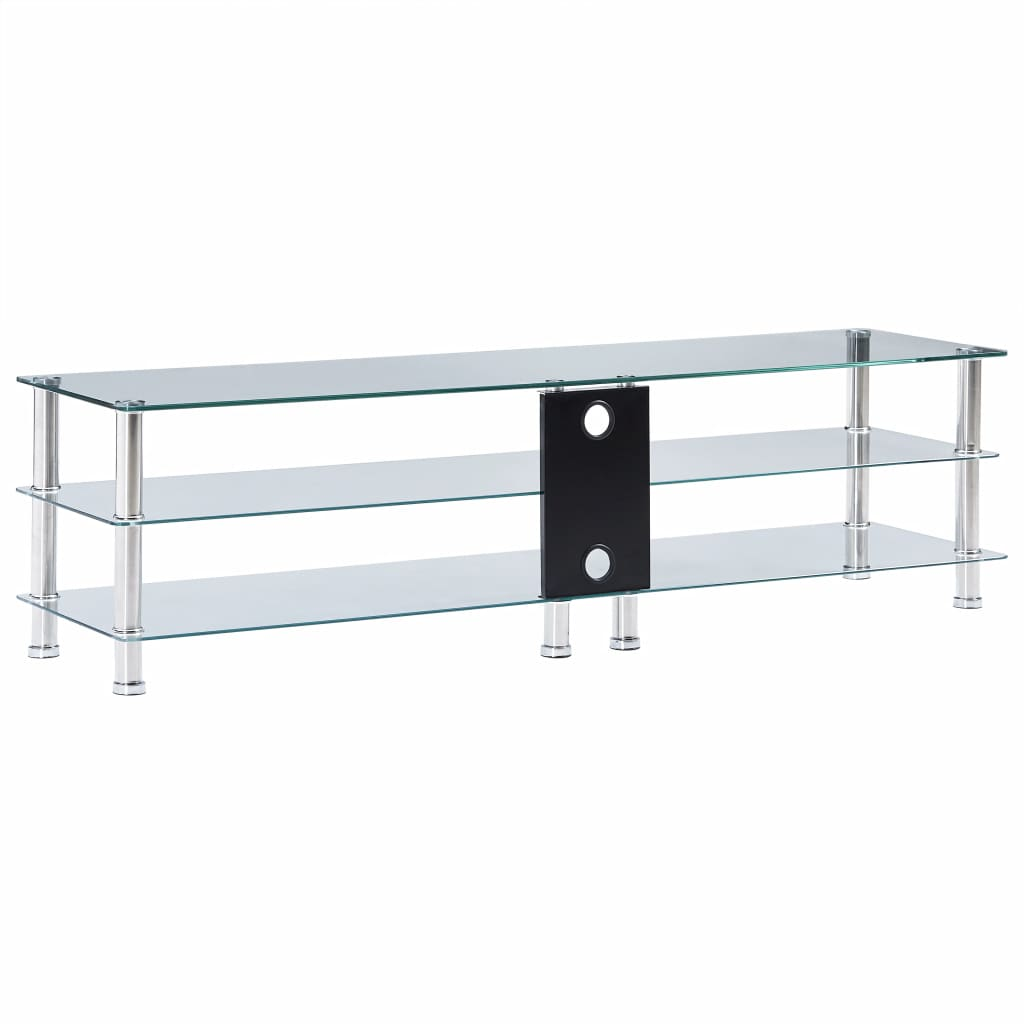 TV Stand Transparent 150x40x40 cm Tempered Glass 4