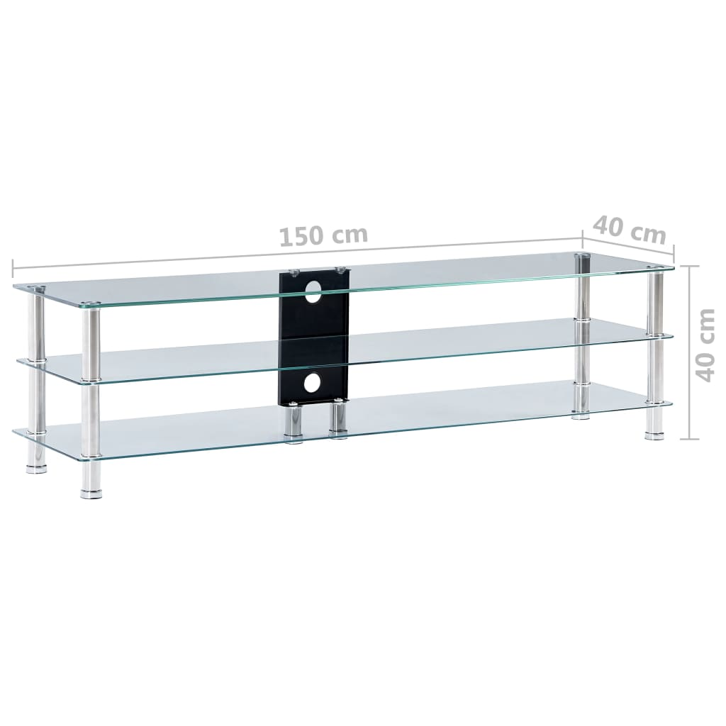 TV Stand Transparent 150x40x40 cm Tempered Glass 6