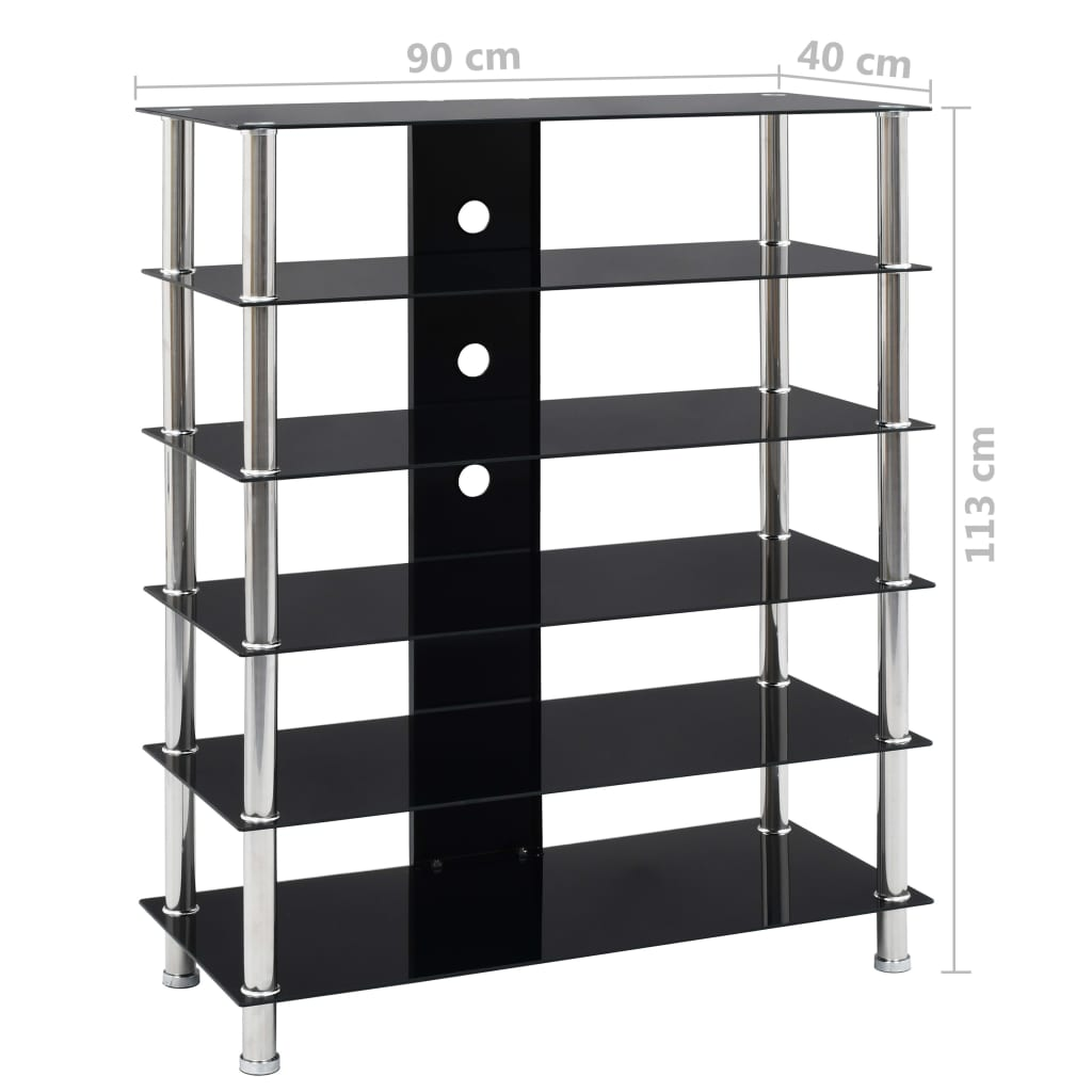 HiFi Stand Black 90x40x113 cm Tempered Glass 7