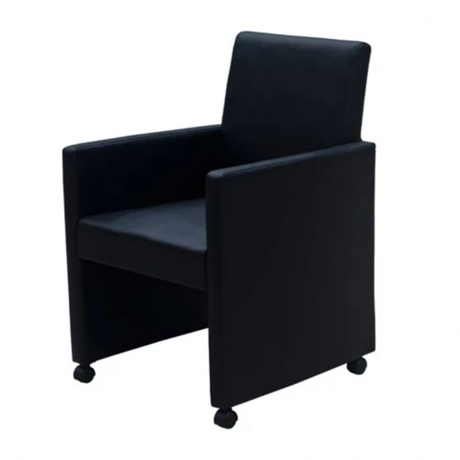 Dining Chairs 2 pcs Black Faux Leather 3
