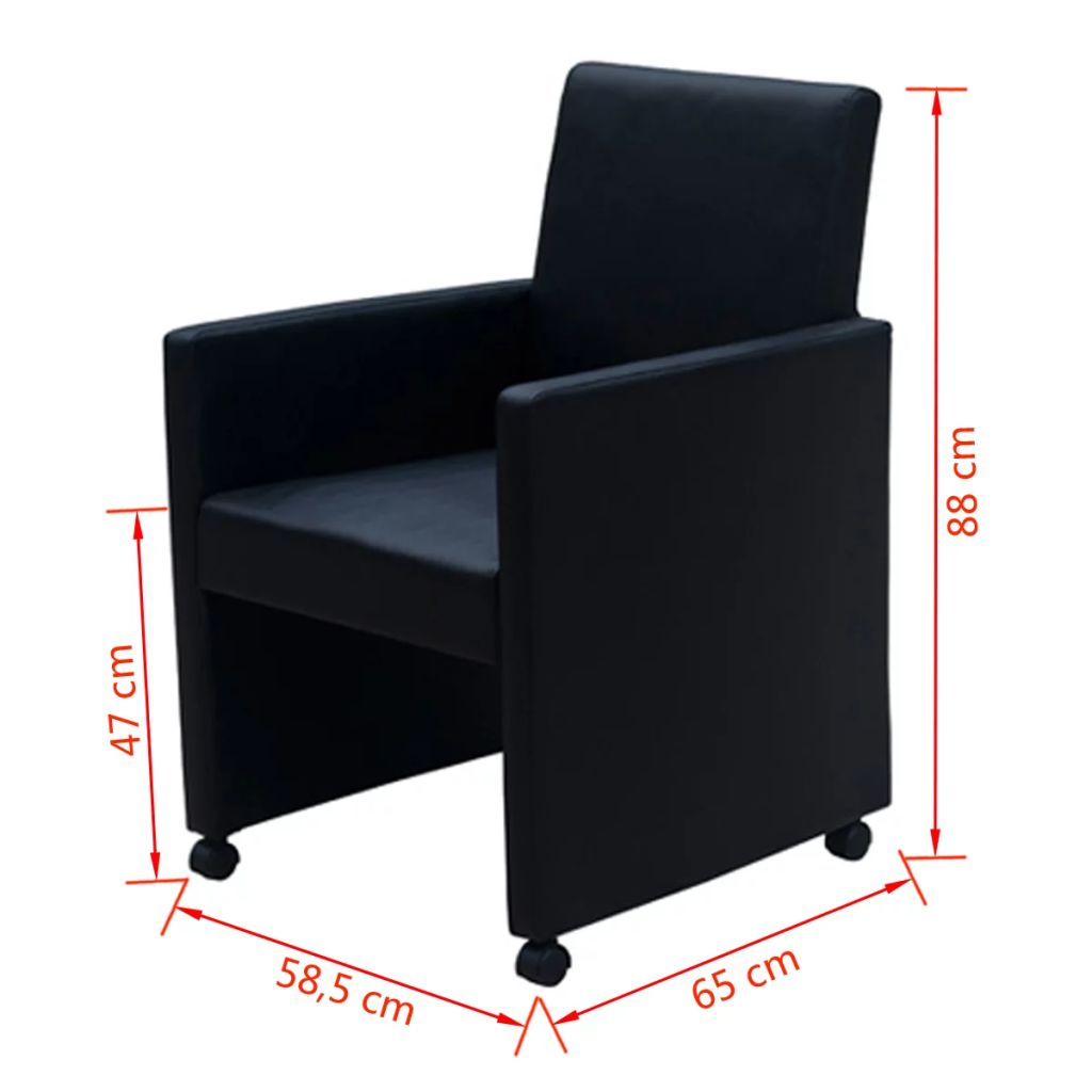 Dining Chairs 2 pcs Black Faux Leather 9