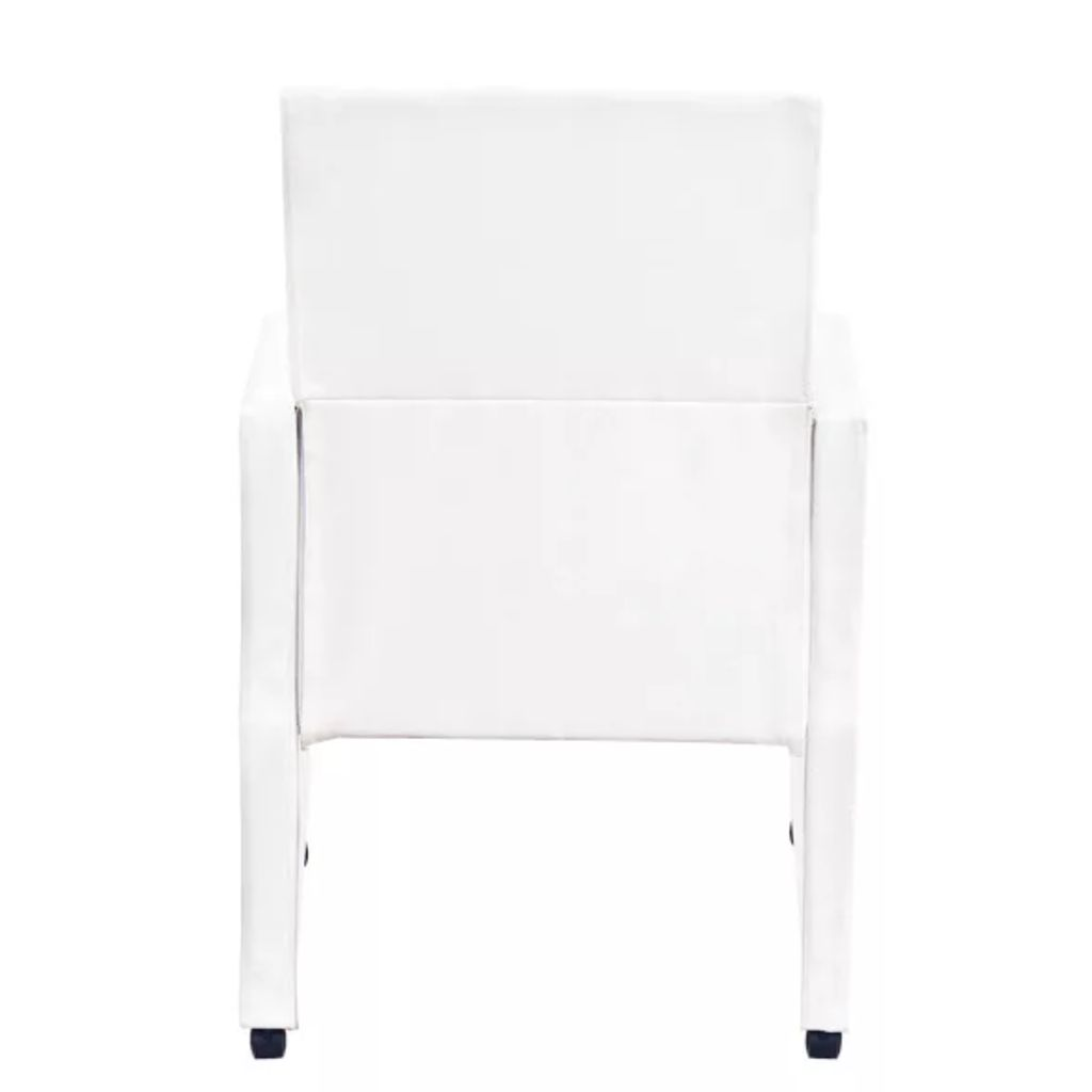 Dining Chairs 2 pcs White Faux Leather 6