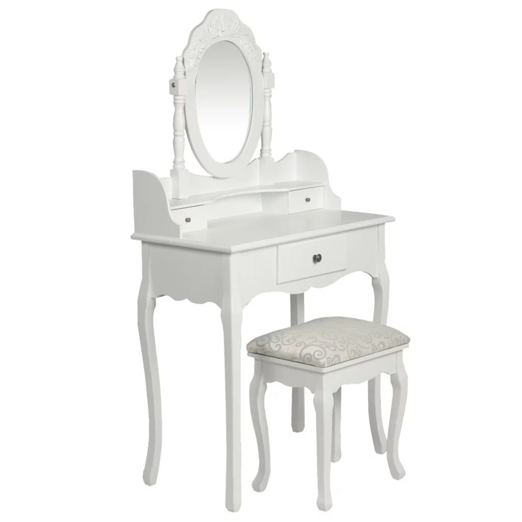 Dressing Table with Mirror and Stool White 1