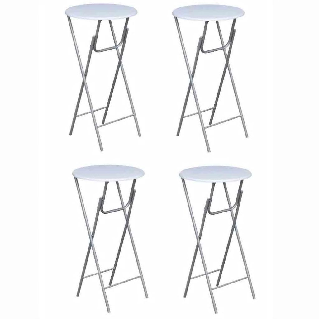 Bar Tables 4 pcs with MDF Tabletop White 1