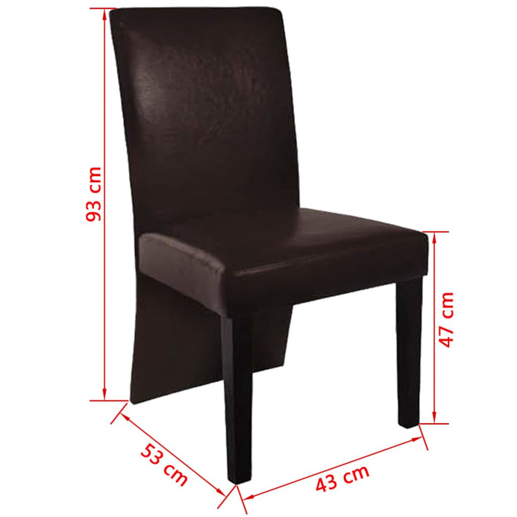 Dining Chairs 4 pcs Dark Brown Faux Leather 4