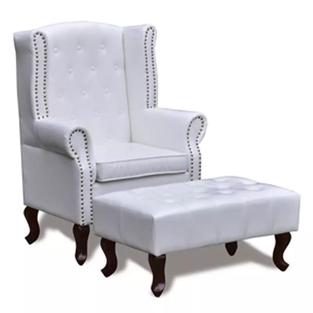 Wingback chair with ottoman white 2