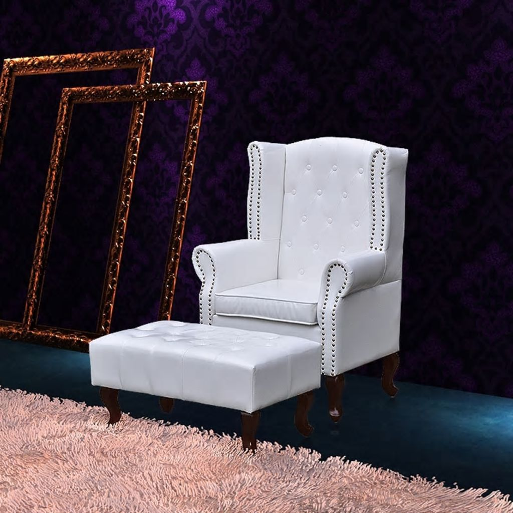 Wingback chair with ottoman white 1