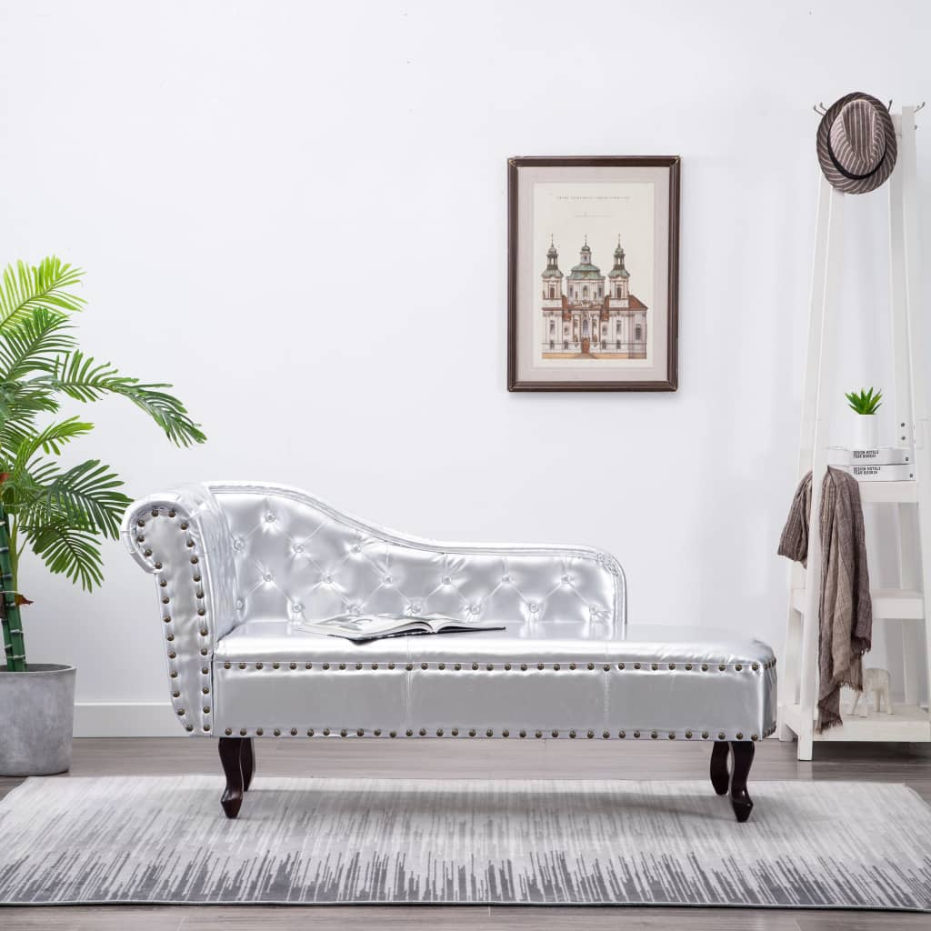Chaise Longue Silver Faux Leather