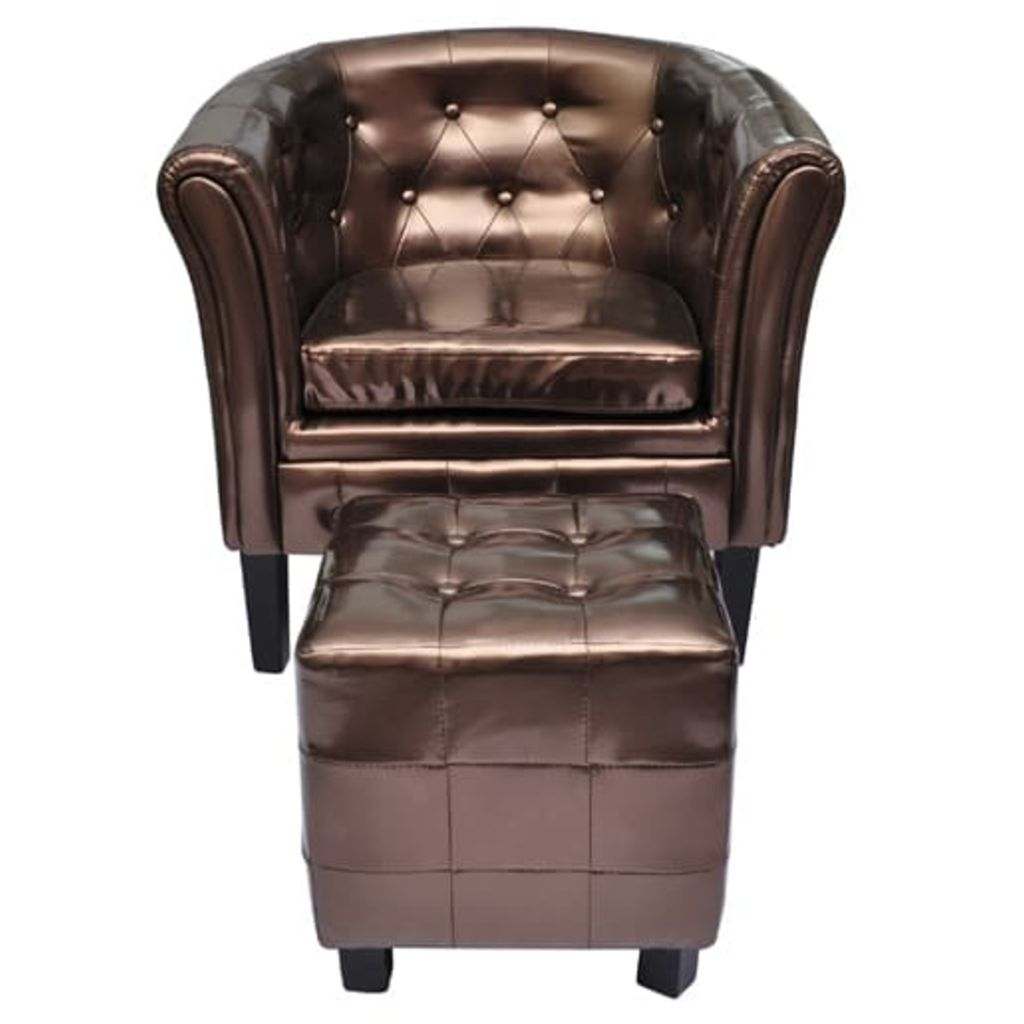 Tub Chair with Footstool Brown Faux Leather 1