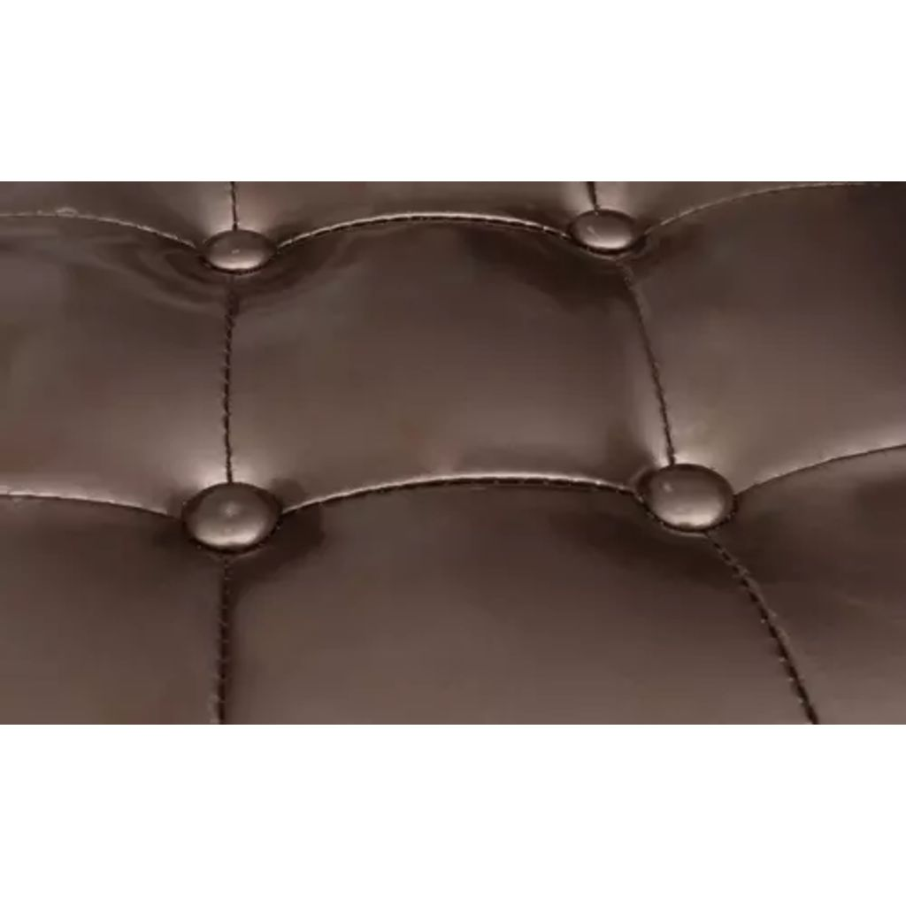 Tub Chair with Footstool Brown Faux Leather 4