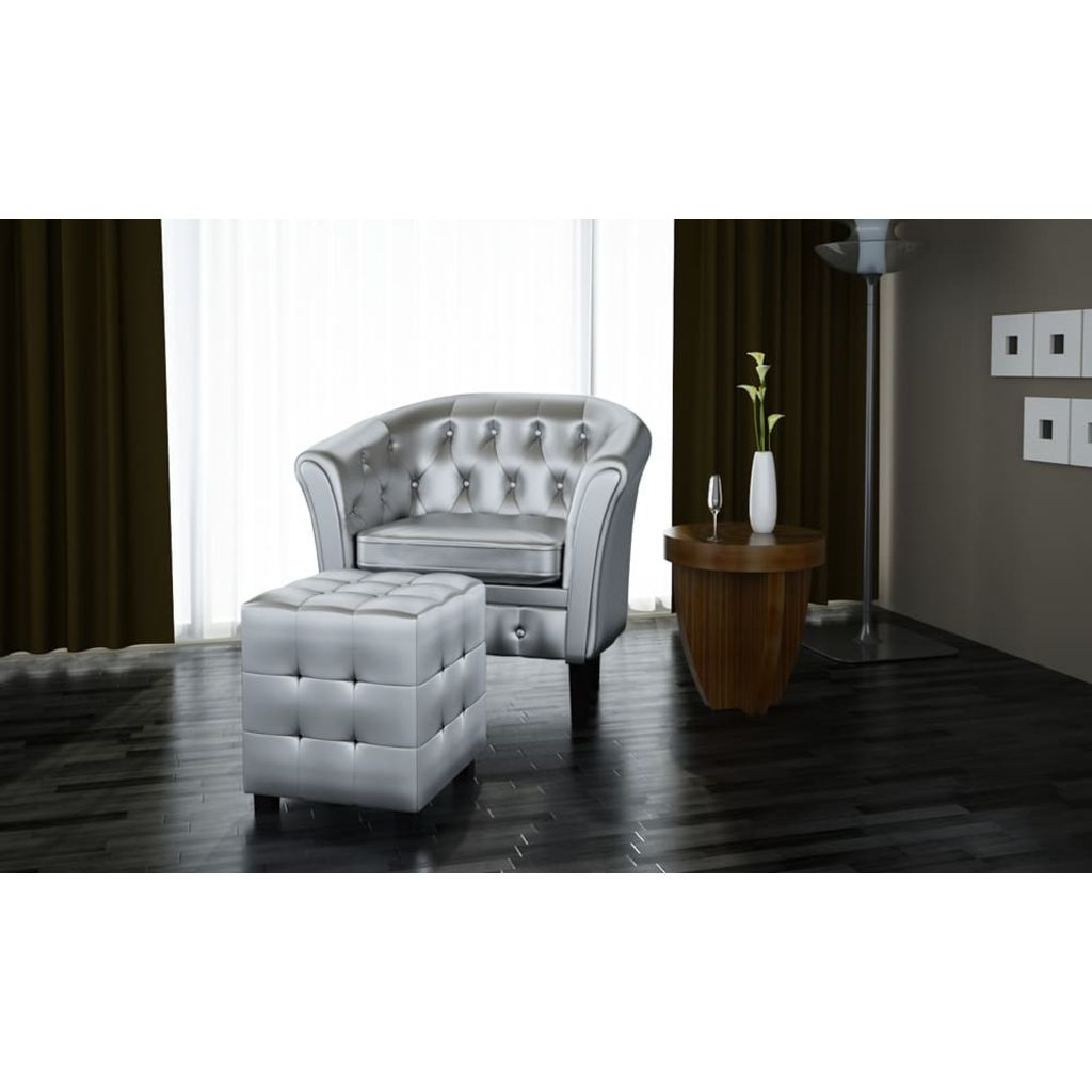 Tub Chair with Footstool Silver Faux Leather 2