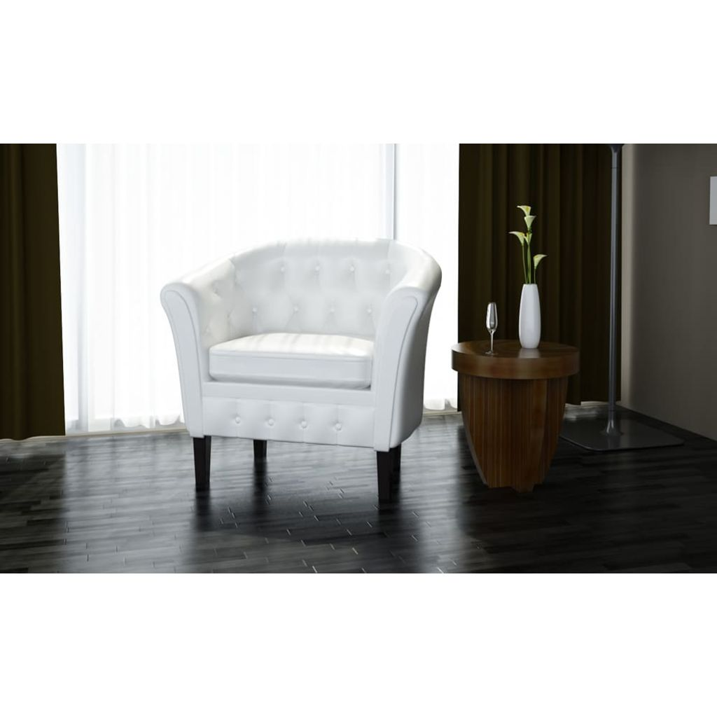 Tub Chair White Faux Leather 1