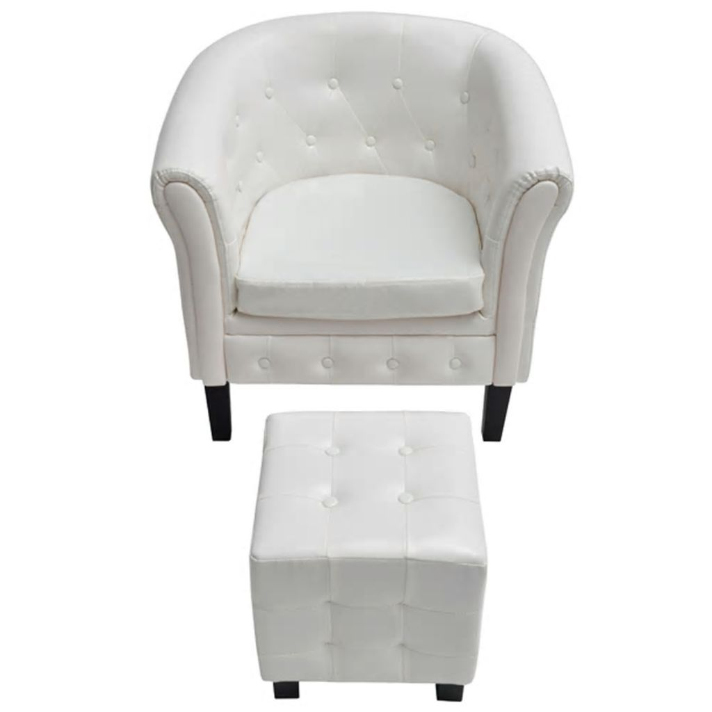Tub Chair with Footstool White Faux Leather 3