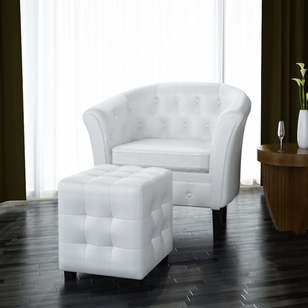 Tub Chair with Footstool White Faux Leather 1