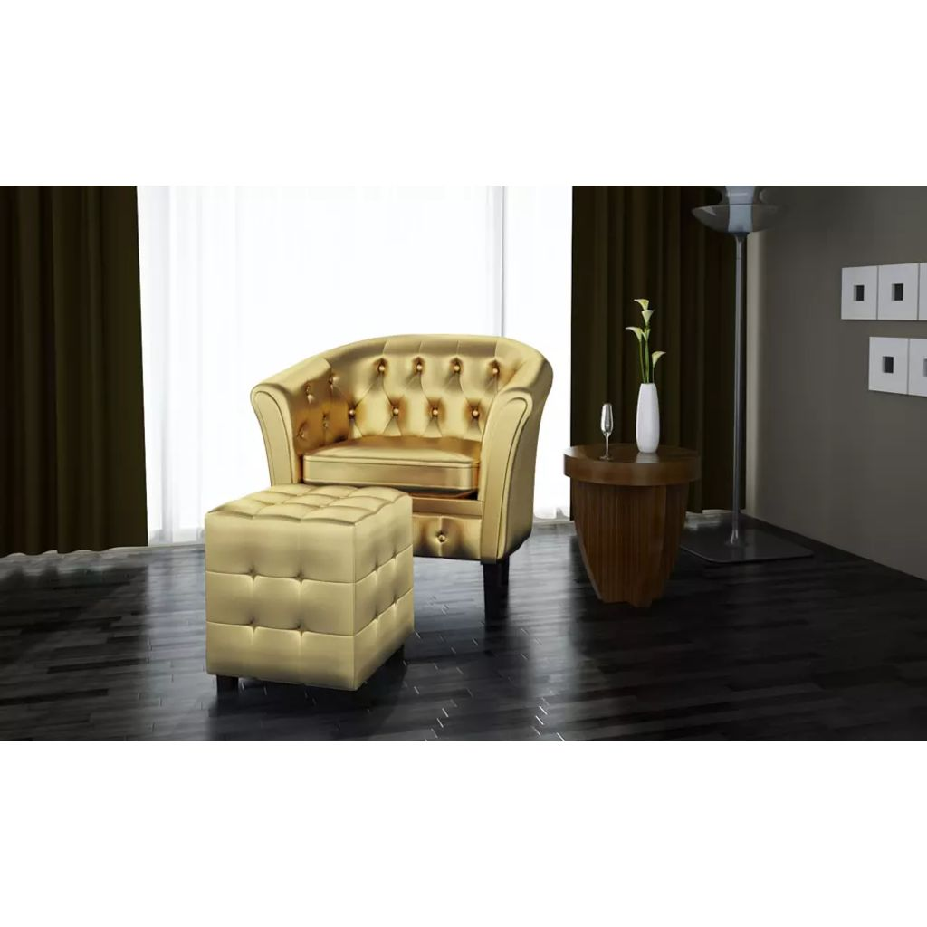 Tub Chair with Footstool Gold Faux Leather 2