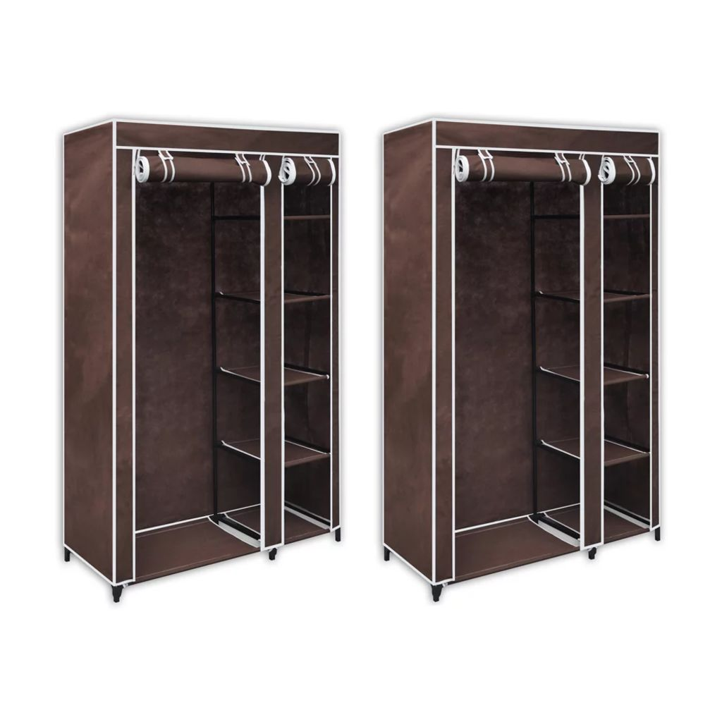 Fabric Wardrobes 2 pcs Brown 1