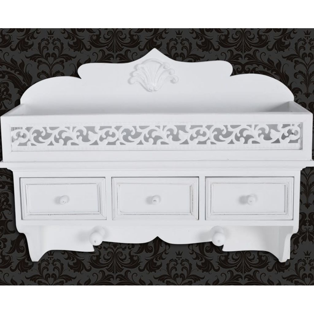 Wall Mounted Shelf with 3 Drawers 6