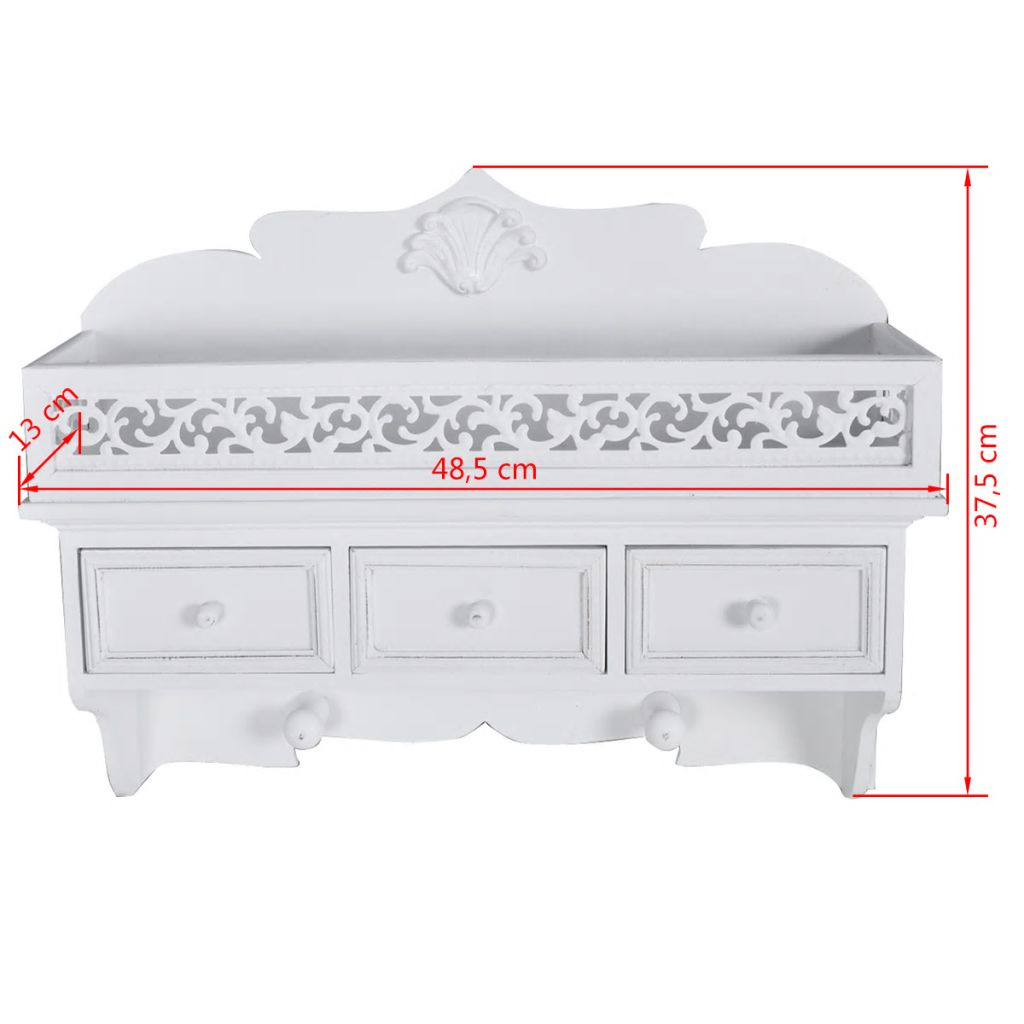 Wall Mounted Shelf with 3 Drawers 7
