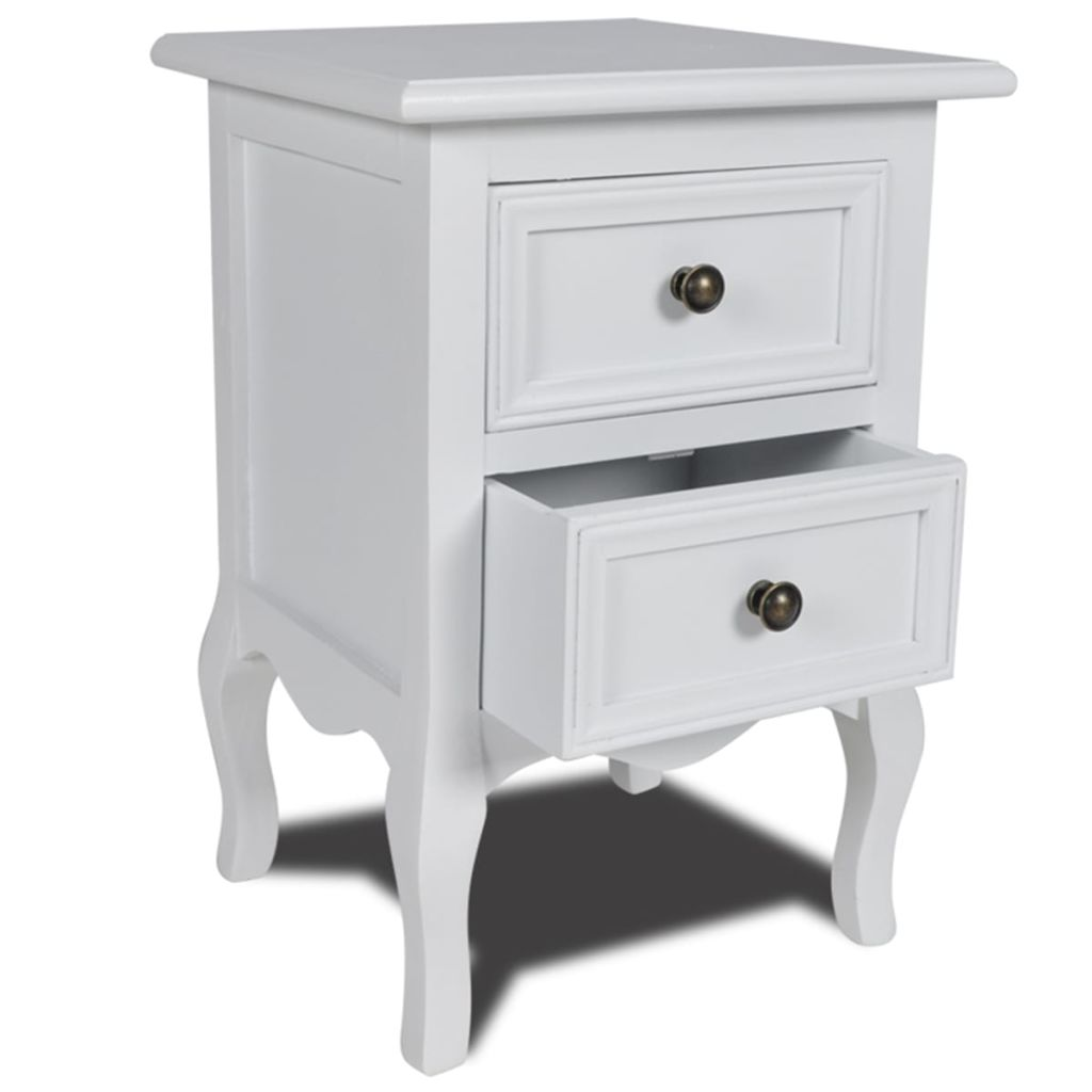 Nightstand with 2 Drawers MDF White 1