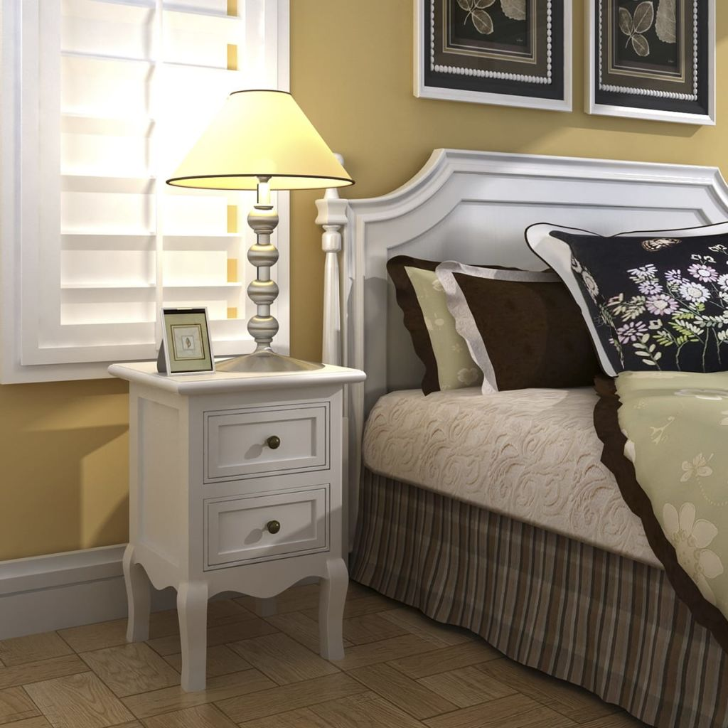 Nightstand with 2 Drawers MDF White 2