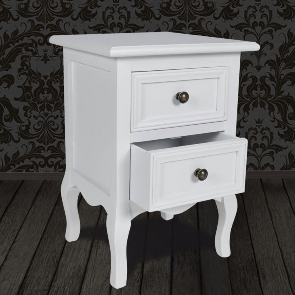 Nightstand with 2 Drawers MDF White 3