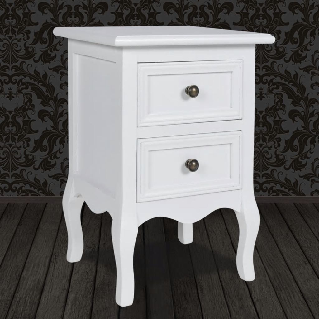 Nightstand with 2 Drawers MDF White 4