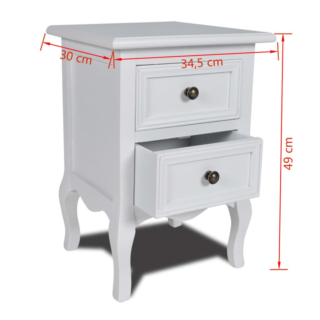 Nightstand with 2 Drawers MDF White 6
