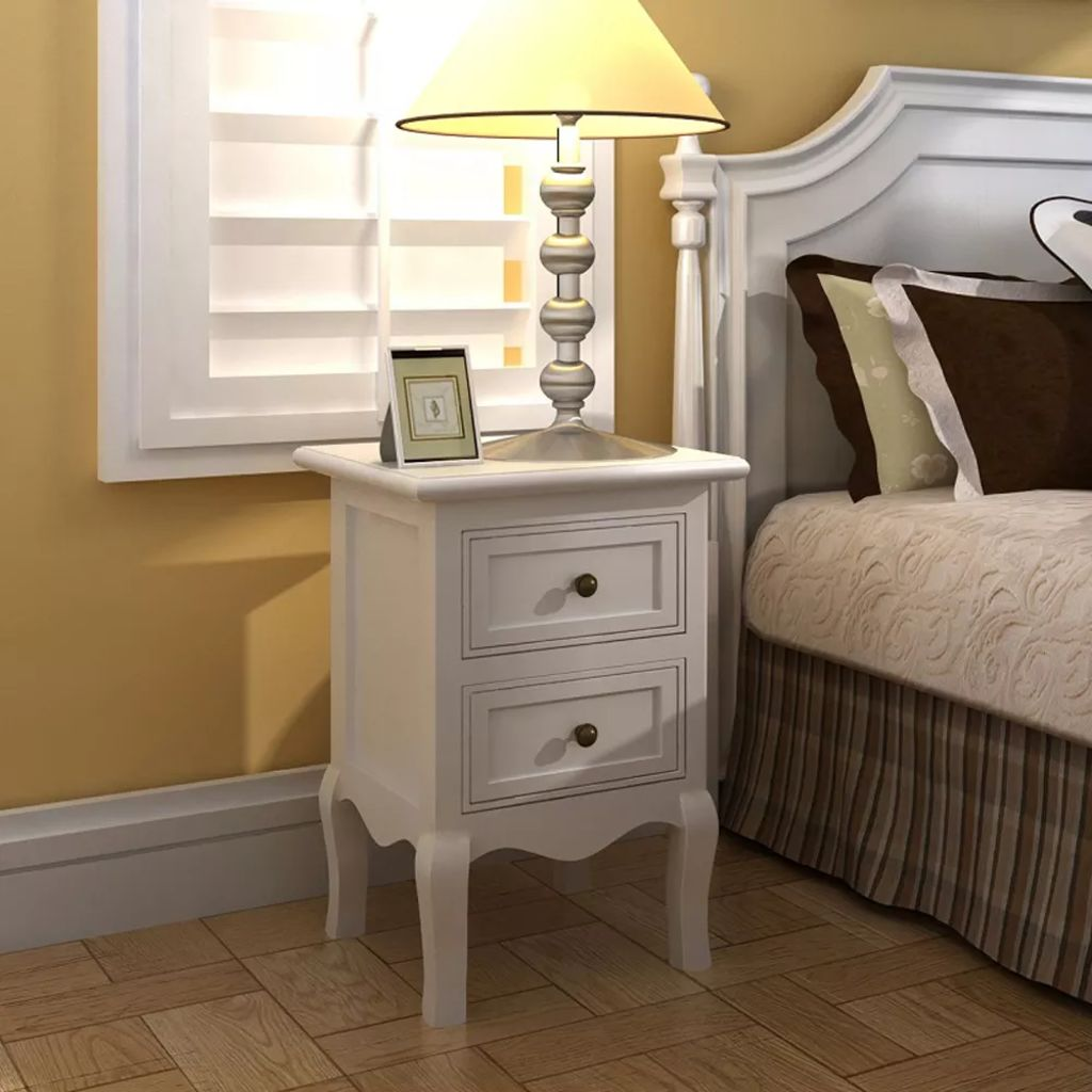 Nightstands 2 pcs with 2 Drawers MDF White