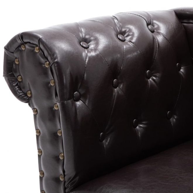 Chaise Longue Dark Brown Faux Leather 5