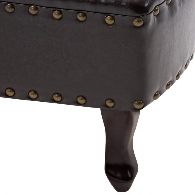 Chaise Longue Dark Brown Faux Leather 7