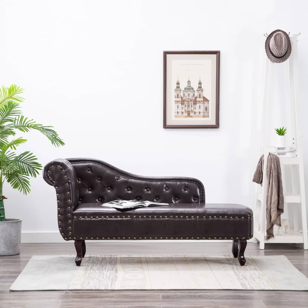 Chaise Longue Dark Brown Faux Leather