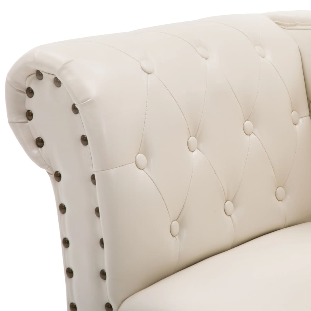 Chaise Longue Cream White Faux Leather 5