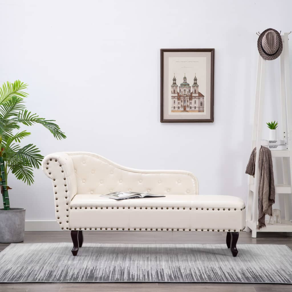 Chaise Longue Cream White Faux Leather 1