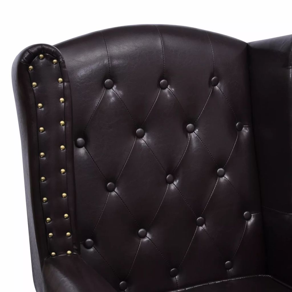 Armchair with Footstool Dark Brown Faux Leather 3
