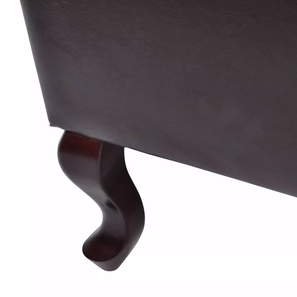 Armchair with Footstool Dark Brown Faux Leather 4
