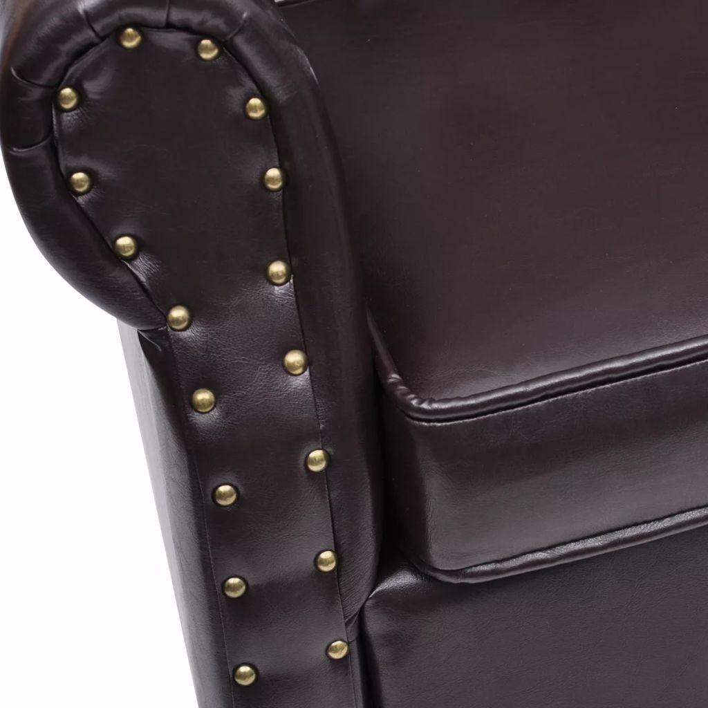 Armchair with Footstool Dark Brown Faux Leather 5