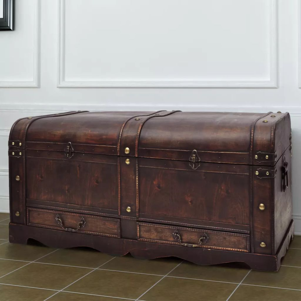 Wooden Treasure Chest Large Brown 1