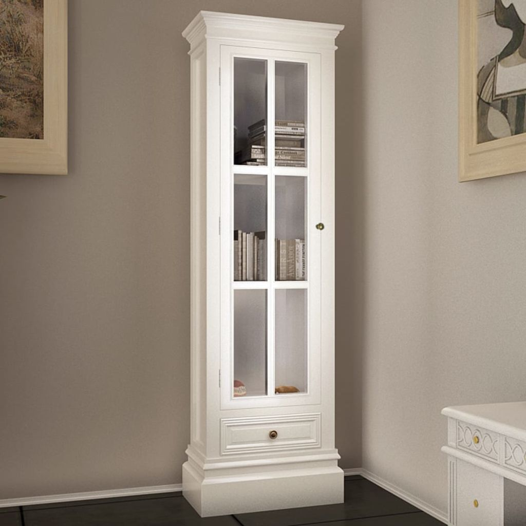 Chic Bookcase Cabinet with 3 Shelves White Wooden 1