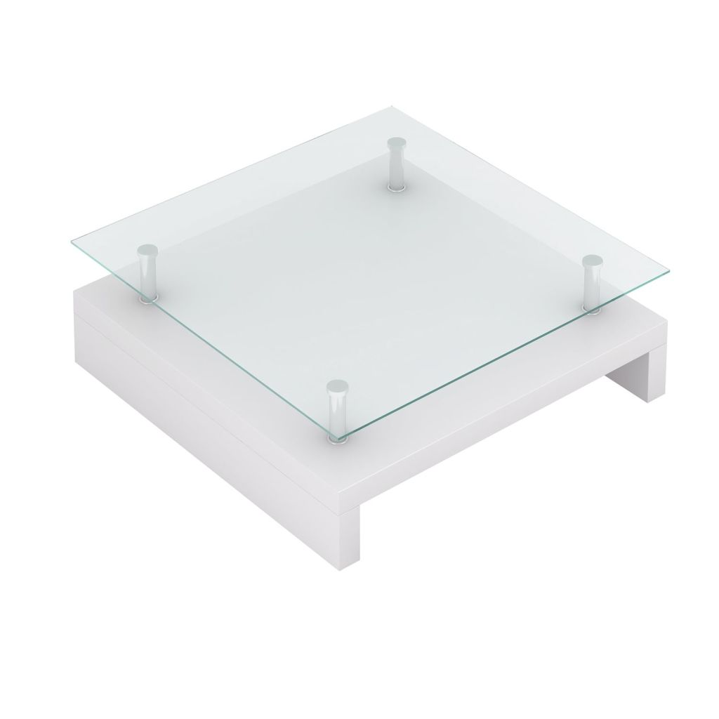 Coffee Table with Glass Top White 2