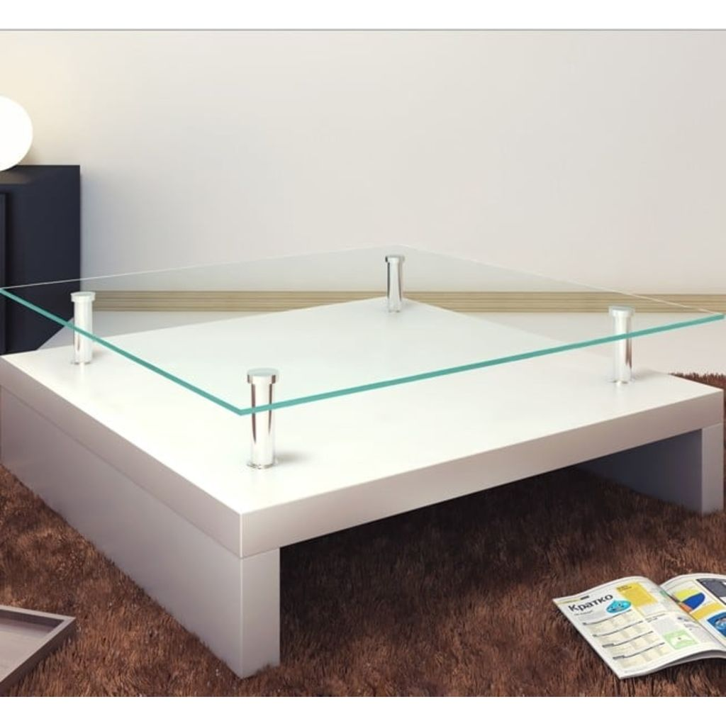 Coffee Table with Glass Top White 5