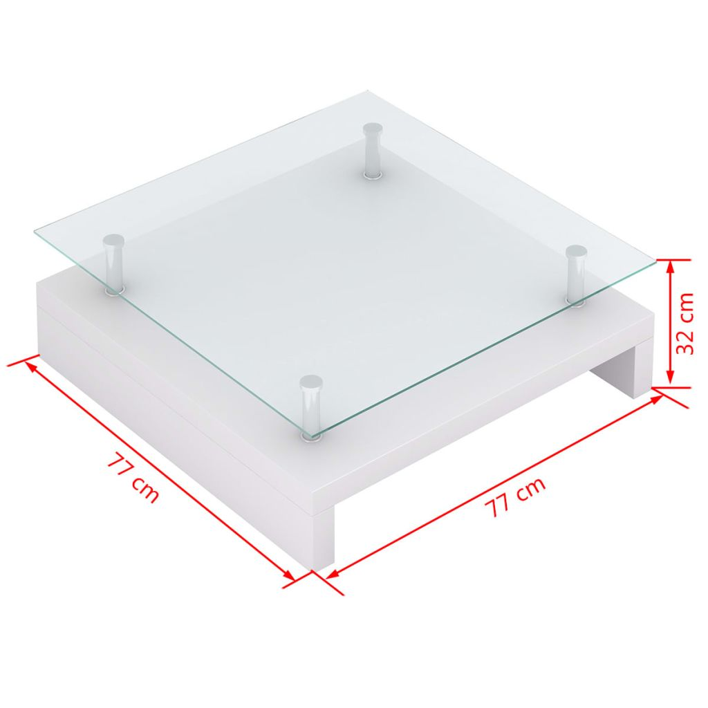 Coffee Table with Glass Top White 6