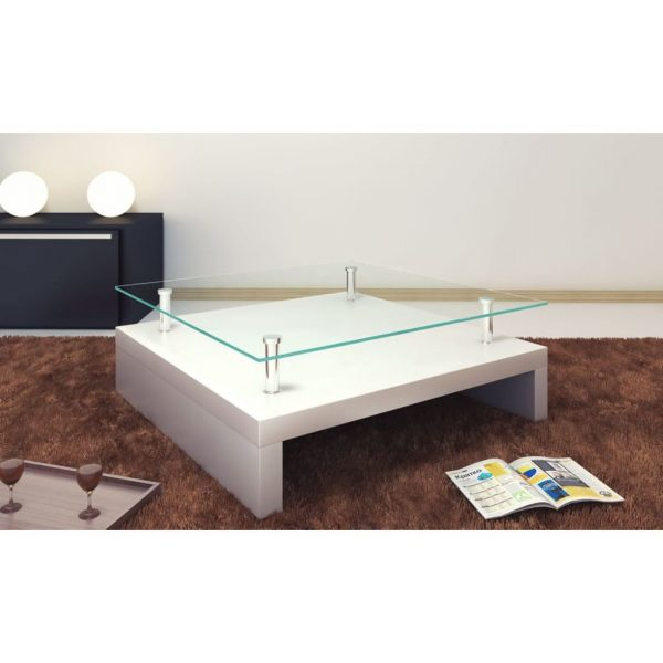 Coffee Table with Glass Top White 1