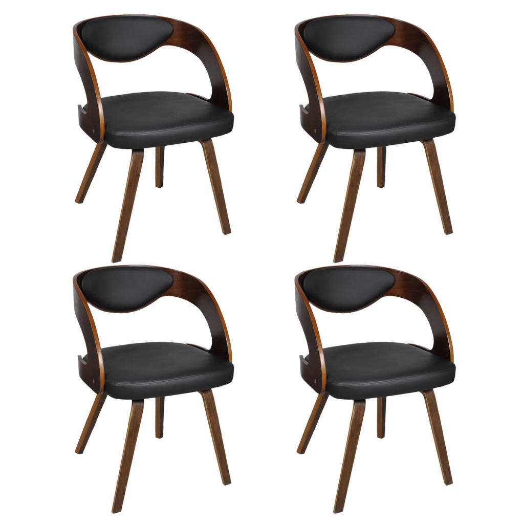 Dining Chairs 4 pcs Brown Bent Wood and Faux Leather 2